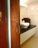 Interior design bathroom. Master bathroom with sliding door Royalty Free Stock Photo