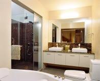 Interior design - bathroom. Master bathroom with bathtub and mirror Stock Photography