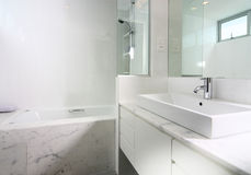 Interior design - bathroom. Master bathroom with marble tiles Stock Images
