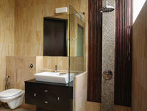 Interior design - bathroom. Master bathroom with timber stripes stock photos
