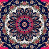 Interior design. Beautiful tablecloth, cushion, carpet with cute mandala in russian style. Seamless patchwork pattern Royalty Free Stock Photography