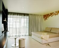 Interior design - bedroom. Master bedroom with black curtain Royalty Free Stock Photos