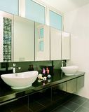 Interior design - bedroom. Master bathroom with mirror panel Royalty Free Stock Photography