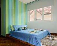 Interior design - bedroom. Boys bedroom with blue wallpaper royalty free stock photos