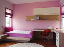 Interior design - bedroom. Girl's bedroom with pink wall royalty free stock photo