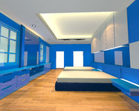 Interior design bedroom blue theme Royalty Free Stock Photography