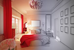 Interior design Bedroom in pink Stock Image