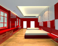 Interior design bedroom red theme Stock Photos
