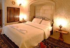 Interior design bedroom white detailed bedspread Stock Photo