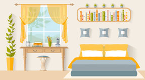 Interior design bedroom with a workplace. Vector. Bedroom with a workplace next to the window. Interior design studio. Vector illustration in flat style Royalty Free Stock Photo
