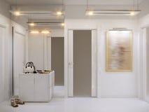 Interior design bianco del corridoio nello stile moderno con le pareti bianche Fotografie Stock Libere da Diritti