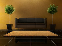 Interior design - black Sofa Royalty Free Stock Images