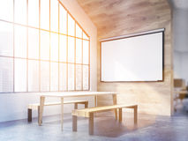 Interior design with blank whiteboard. Interior design with table, benches, blank whiteborad and Singapore city view. Toned image. Mock up, 3D Rendering Stock Photography