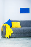 Interior design with blue and yellow details Stock Photography