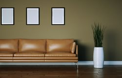 Interior design bright room with brown leather sofa. 3d Illustration Royalty Free Stock Photography