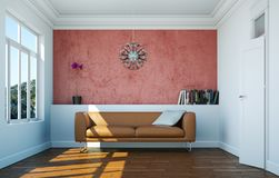 Interior design bright room with brown leather sofa. 3d Illustration Stock Photo