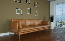 Interior design bright room with brown leather sofa. 3d Illustration Stock Images