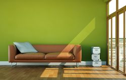 Interior design bright room with brown leather sofa. 3d Illustration Royalty Free Stock Image