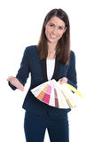 Interior design: business woman is presenting different colors o Royalty Free Stock Image