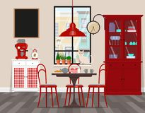 Interior design of cafe, kitchen, dining room in retro style. Vector flat illustration. Isolated vector objects... Vector illustration. Painted in shape royalty free illustration