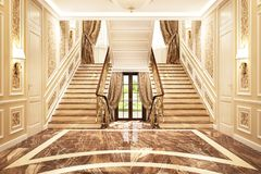 Interior design in a classic style. Entrance to a beautiful big house stock photo