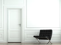 Interior design classic wall. Interior design of classic white room with black barcelona chair Stock Photo