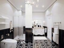 Interior design moderno in bianco e nero del bagno in mosaico