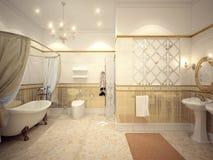 Interior design classico del bagno con oro e mattonelle beige e m