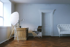 Interior design classico dell'ufficio con la porta di legno 3d rendono Fotografie Stock Libere da Diritti