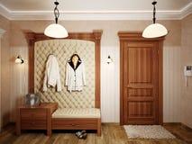 Interior design classico elegante del corridoio con le pareti beige Immagine Stock Libera da Diritti