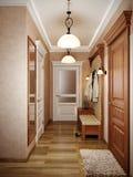 Interior design classico elegante del corridoio con le pareti beige Fotografia Stock Libera da Diritti