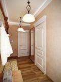 Interior design classico elegante del corridoio con le pareti beige Immagine Stock