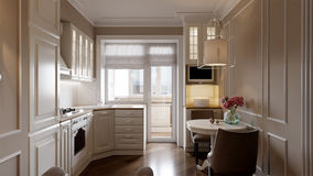 Interior design classico elegante della cucina Fotografie Stock Libere da Diritti