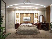 Interior design classico moderno della camera da letto Fotografie Stock