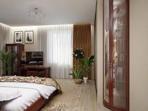 Interior design classico moderno della camera da letto Royalty Illustrazione gratis