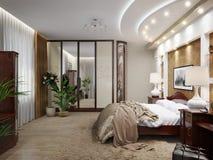 Interior design classico moderno della camera da letto Fotografia Stock Libera da Diritti