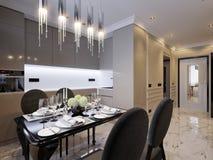 Interior design classico moderno della cucina Immagine Stock Libera da Diritti