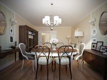 Interior design classico moderno della sala da pranzo e del salone Fotografia Stock Libera da Diritti