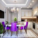Interior design classico moderno elegante della cucina Fotografia Stock Libera da Diritti