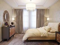 Interior design classico moderno spazioso e luminoso della camera da letto Fotografia Stock