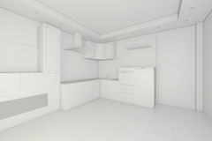 Interior design of clean modern white kitchen. 3d rendering.  Royalty Free Stock Photo