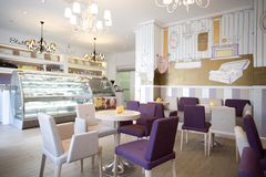 Interior design. Coffee shop interior design with cakes and drinks Royalty Free Stock Photos