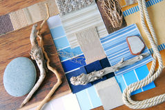 Interior design color and  upholstery planning. Concept of sea and marina style Stock Images