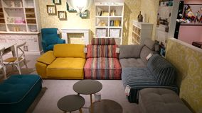Interior design: colorful couch and coffee table Stock Photos