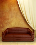 Interior design - Comfortable couch. Interior - Comfortable leather couch on ruined wall Royalty Free Stock Photography