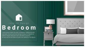 Interior design con il fondo moderno della camera da letto, vettore Fotografia Stock Libera da Diritti