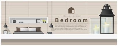 Interior design con il piano d'appoggio ed il fondo moderno della camera da letto Fotografie Stock Libere da Diritti