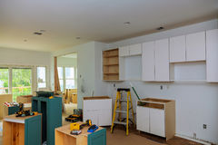 Interior design construction of a kitchen with cooker extractor Royalty Free Stock Photos