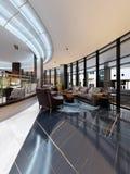 Interior design contemporaneo dell'hotel, ingresso dell'hotel, area di riposo con mobilia moderna comoda illustrazione vettoriale