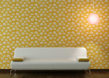 Interior design couch on flowery wallpaper Stock Photography